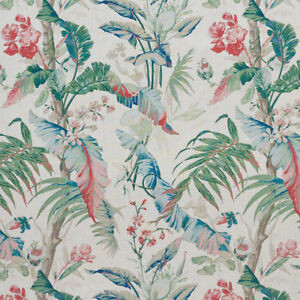 SCHUMACHER TROPICAL PALM LEAVES HIBISCUS LINEN FABRIC 10 YARDS ROSE MULTI