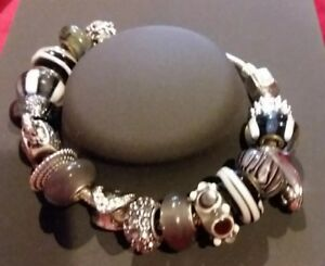CHAMILIA BARREL CLASP  Bracelet WEU PURSE SHOE CHARMS BEADS STOPPER W Gift BOX