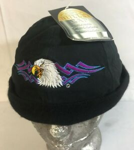 Bullet Cap Adjustable Beanie Strapback Hat Cap Black Moto Biker Eagle New