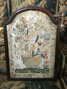 C1700 Silk Embroidered Panel Delft Bown Flowers Rare Antique Needlework