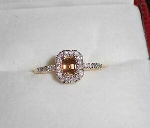 14k Yellow Gold Chocolate Radiant Cut Center Diamond & White Diamond Ring Sz.6