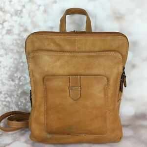 Chaos Leather Collection Women's Back Pack Purse Sling Camel Tan Medium Square