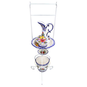 Hand-painted Ceramic Wash Basin With Stand, Pitcher, Soap Dish and Bucket Set