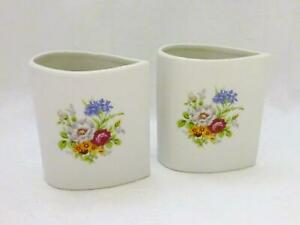 Vintage Set of 2 White Ceramic Small Teardrop Opening Vases w/ Floral Pattern