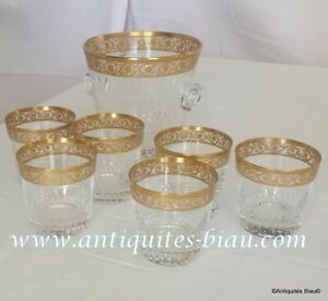 Set ice bucket 6 old fashion whiskey crystal Saint Louis Thistle Gold Perfect