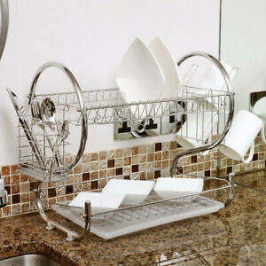 Two Tier Chrome Dish Drainer 20-in x 13-in x 10-in Home Kitchen Drying Sink Rack