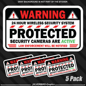 5 pack Warning Camera Security sticker window alarm home business surveillance