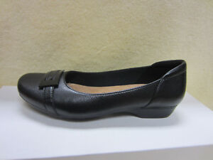 New CLARKS Women's Blanche West 6.5 Flat Shoes Black Leather Slip On