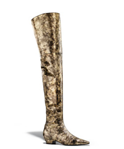 Chanel 18K Black Gold Laminated Goatskin Leather CC Thigh High OTK Knee Boot 38