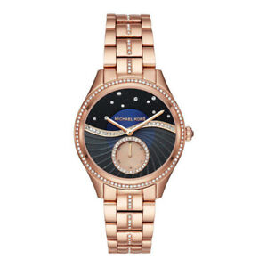 100% New Michael Kors MK3723 Lauryn Rose Gold Blue Sunray Bracelet Women's Watch