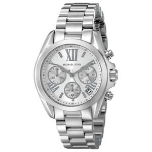100% New Michael Kors MK6174 Bradshaw Chronograph Silver Bracelet Women's Watch