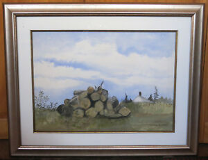 Ann Wyeth McCoy - Untitled (The Woodpile) Signed & Framed Watercolor Taos NM