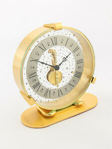 Super rare LeCoultre Table Clock with 8 day inline movement star design 1960´s