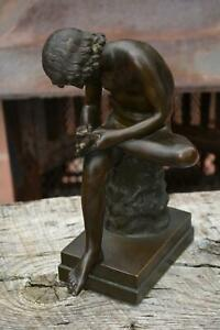 Bronze ? Heavy Metal Nude Boy Sitting On Stump Looking At Thorn in Foot EXC