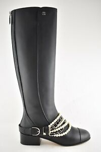 Chanel 18A Black Calfskin Leather CC Pearl Chain Knee High Heel Riding Boot 38