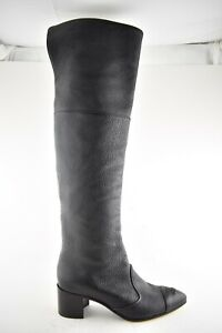 Chanel 18B Black Grained Leather CC Pointed Knee High Heel OTK Riding Boot 38