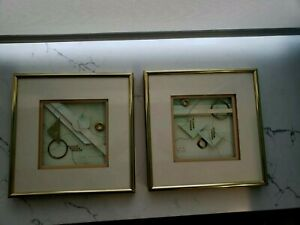 Lee Hill Of Oakwood Studios 2 Mixed Media Collages Professionally Framed Matted