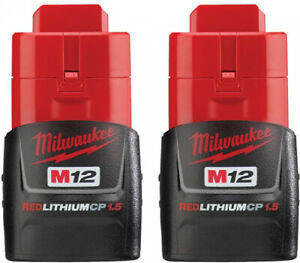 Milwaukee Battery Pack 1.5Ah (2-Pack) M12 12-Volt Lithium-Ion Compact Fuel Gauge