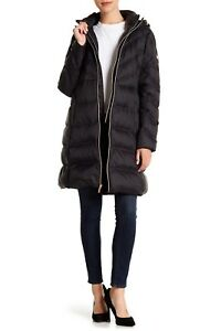 MICHAEL KORS Shevron Quilted Packable Hooded Down Puffer Jacket Coat Small Black