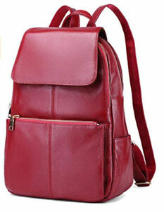 Coolcy Casual Women's Brand New Real Genuine Leather Backpack  Bag * Wine Color
