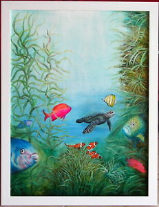 Sue Nagel (1942-) Stunning Original Oil Painting Wonderful Tropical Sea World