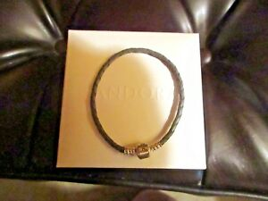 PANDORA SINGLE-BRAIDED LEATHERSILVER BRACELET - NIB - COMES FROM BLOOMINGDALE'S