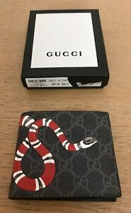 Gucci Men's Black Leather wallet GG Supreme Canvas Design Authentic