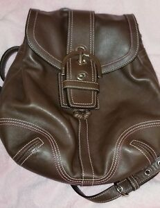 Coach Small Brown Leather Backpack