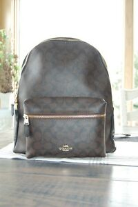 EUC Authentic Coach F58314 Charlie Large Backpack in Signature BrownBlack
