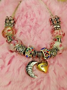 Bracelet 925 W I Love You To Moon & Back Mom + Authentic Pandora Murano Charms