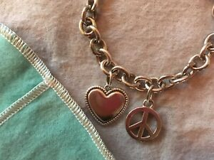 Tiffany & Co Heart Tag and Peace Charm Chain Link Bracelet 925 Sterling Silver