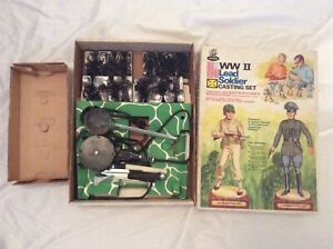 Vintage 1960s Rapco WWII Lead Soldier Casting Mold Set w Original Box