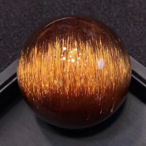 48.2mmTop! Chatoyancy Natural Gold Copper Rutilated Quartz  Crystal Sphere Ball