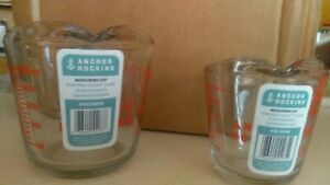 Anchor Hocking 2 Measuring Cup Set 16 ounce and 8 ounce Glass Cups Kitchen Home