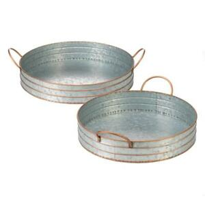 Rectangle Oblong Round Galvanized Metal Serving Tray 2pc Sets