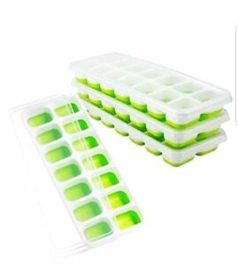 Ice Cube Trays 4 Pack Easy Release Silicone Flexible 14 With Lid Green