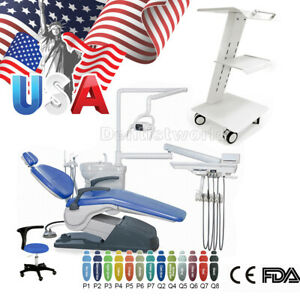 Dental Unit Chair Hard Leather + Doctor Mobile Stool + Trolley Built-in Sock