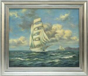 Vintage Nautical Seascape Oil Painting Canvas White-hulled BarkentineSchooner