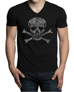 Men's Jolly Roger Skull Black V Neck Tee Shirt Skeleton Pirate Ship Flag Army US