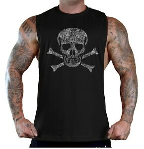 Men's Jolly Roger Skull Black T Shirt Tank Top Skeleton Flag Ship Pirate Army US