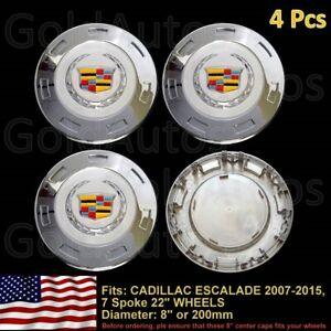 NEW 4 PCS CADILLAC ESCALADE 2007 2015 COLORED CREST CENTER CAP 22 RIM 9596649