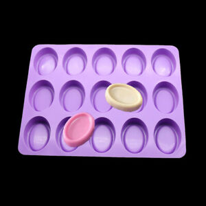 Silicone Mold 15 Oval Bread Baked Muffins Cakes Soap Candy Chocolate Mold Making