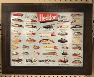 Heddon Famous Fishing Lures Sign Metal Wall Hanging Nautical Decor NEW! Embossed