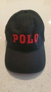 Very Rare Vintage Black Polo Hat With Red Block Letters