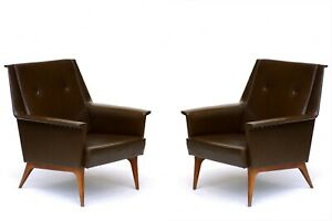 Mid-Century Italian Design Pair of Armchairs by Anonima Castelli  1950s