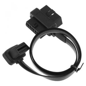 Two OBD-II 90 Degrees L Type 16 Pin Male-Double 16 Pin Female Extended Connector