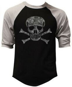Men's Jolly Roger Skull Black Baseball Raglan T Shirt Pirate ship Flag Army USA
