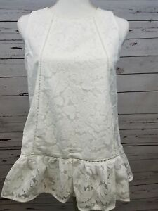 Doe and Rae White Peplum Lace Tank Top Boutique Sleeveless Shirt S M L