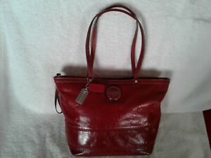 Coach Medium sized Red Patent Leather Trim Shoulder Bag