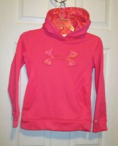 Girls Under Armour Loose Storm Hoodie - Size YSM - Pink & Camo